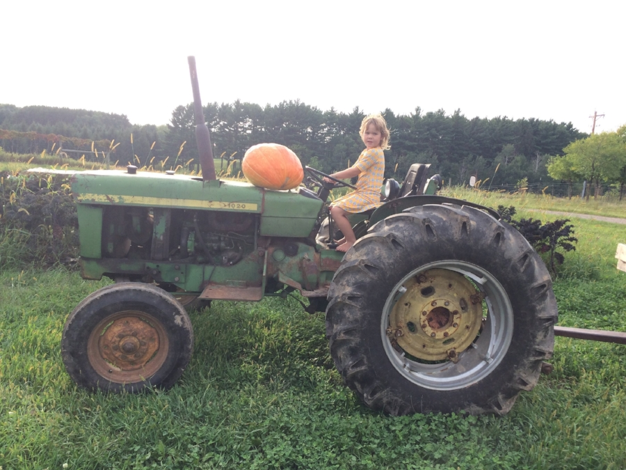 Sadie and a giant pumpkin on a tractor!