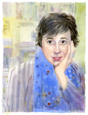 """A Nod to Virginia Woolf""  by Anni Matsick    This portrait of Dr. Erica Delsandro, Bucknell professor of Women's and Gender Studies, was done for AACP's Pro Femina exhibit in November, 2015. The pose refers to Virginia Woolf's famous photo with chin in hand."