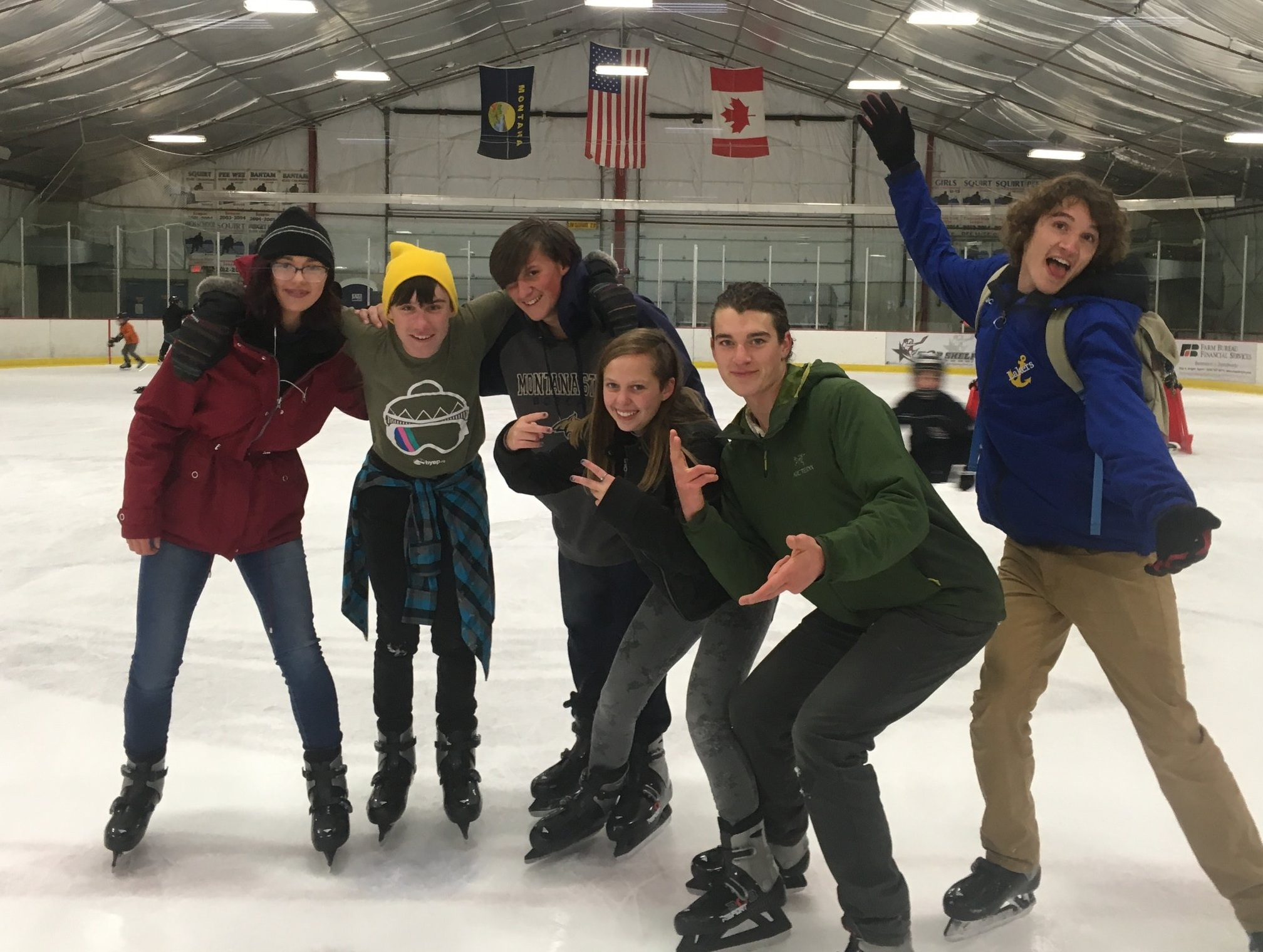 9th grade participants Emory, Garrett, Dylan and Laney trying out their skating skills with support from super mentors Nathaniel and Ben.