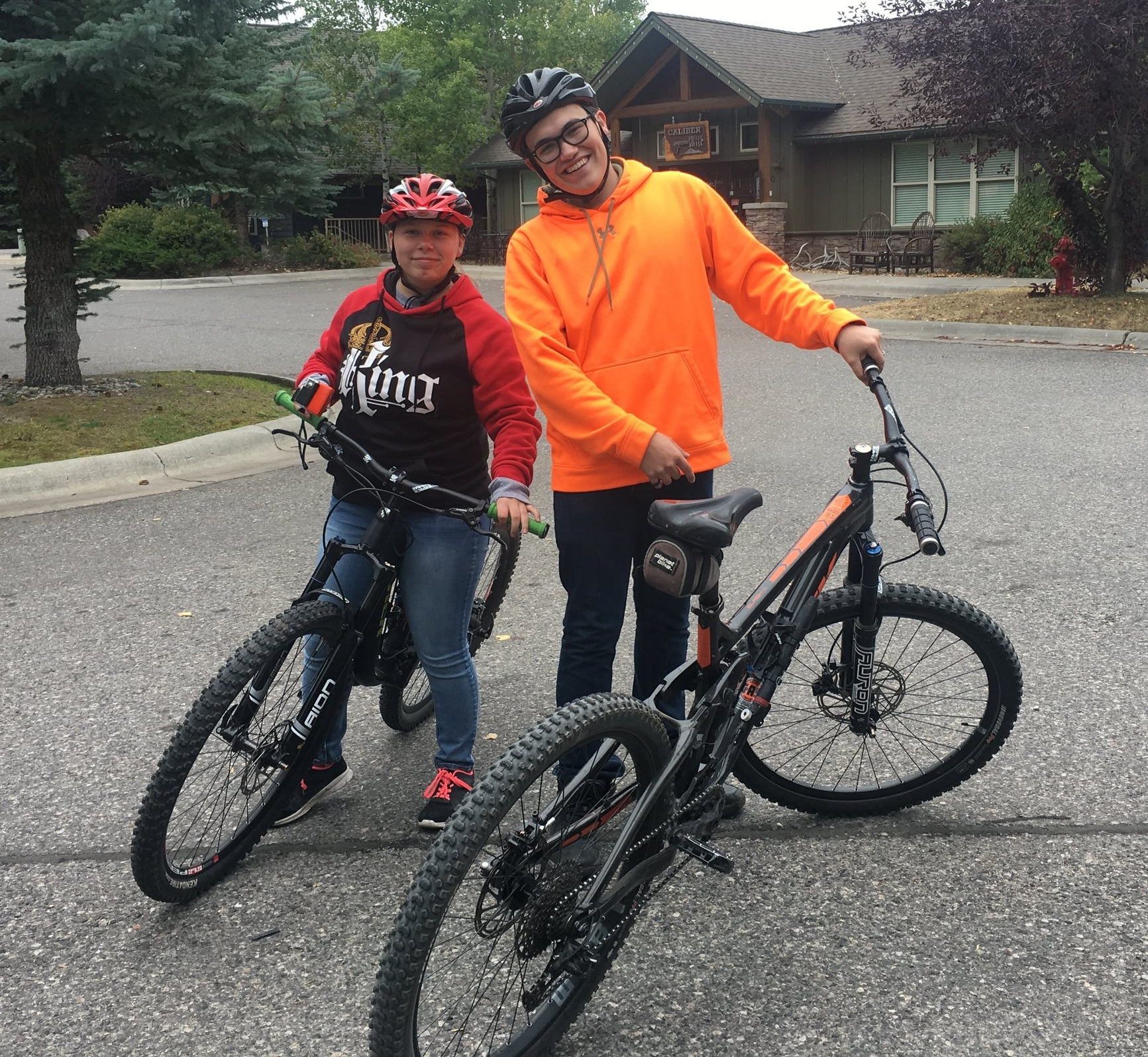 Corey and Kami gearing up for a ride at Ousel Falls in Big Sky.