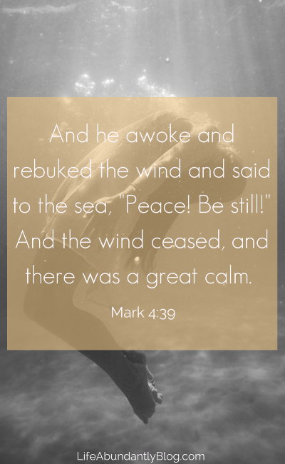 Mark 4:39 Grief and loss can be such a storm- feeling like it's absolutely drowning you. Jesus brings peace into any storm.