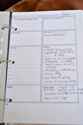 My daily to-do list. I usually print this out full size and use it on a clipboard. Now it's with all my other must-haves and travels more easily. I will update soon with a link to this. I found it on pinterest. I am not responsible for this genius!