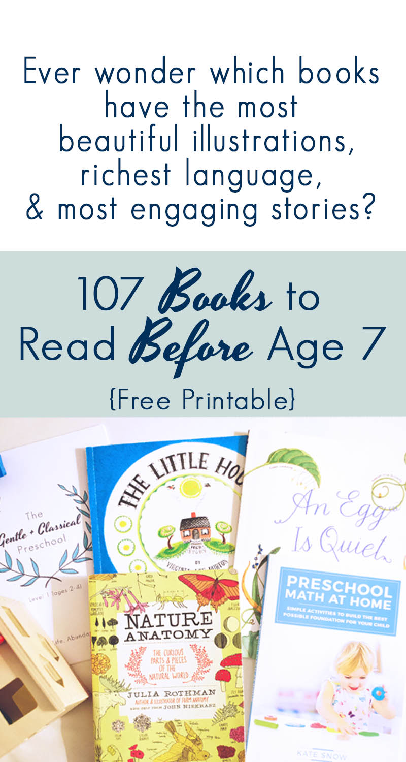 AN AWESOME printable list of 107 books for kids under 7, that's clean, Christian, encouraging, fun, great quality, and trustworthy. These are NOT all huge, long books either. Some great picture book recommendations for toddlers here!
