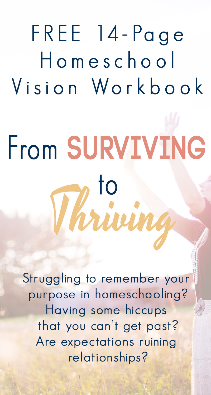Are you struggling to remember WHY you ever started homeschooling? Are you just getting started and suffering from overwhelm? Did you jump right in and forget to set a clear vision for your future? This free 14 page workbook will help you craft a vision statement for your homeschool, remove overwhelm, align your days with your goals, and set appropriate expectations.