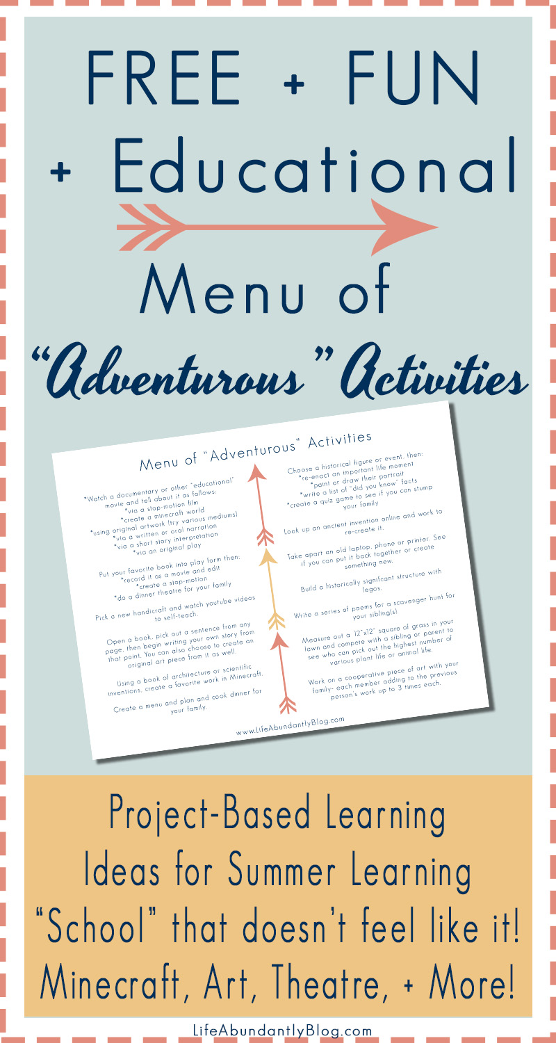 Are you in a school slump and want to shift gears for something more fun? Do you need ideas for keeping the kids busy with their brains turned on this summer? Do you unschool and need a menu of ideas to choose from? This free printable list will keep the ideas flowing!