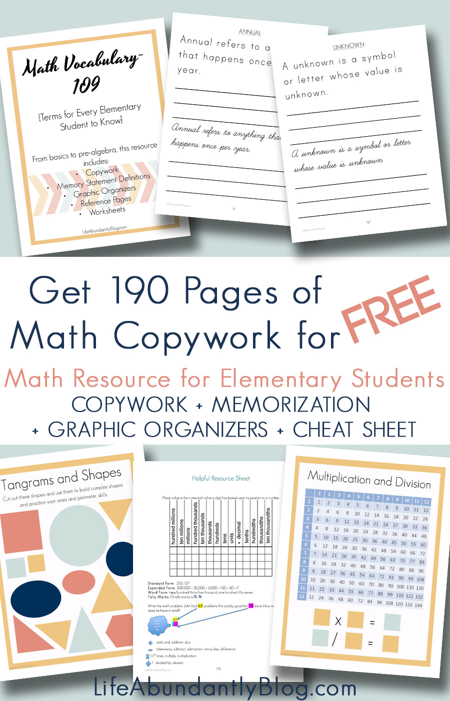 Looking for math copywork to supplement your math curriculum? Do you need a quick reference glossary to keep on hand for your elementary math students? This FREE 190 page workbook includes 109 math vocabulary terms in cursive copywork or print copywork for your elementary math student.