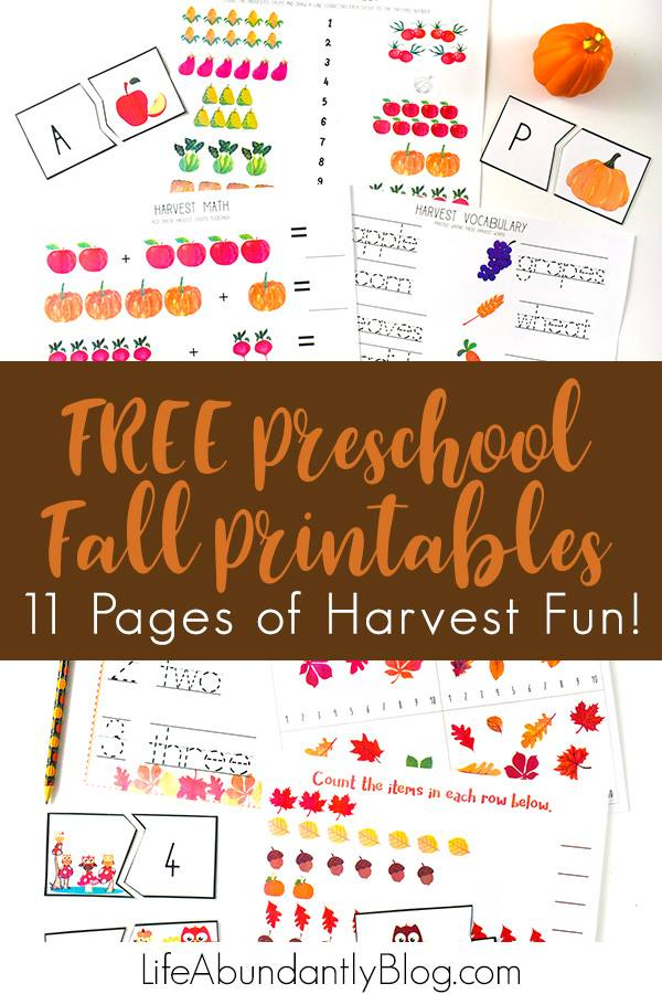 Looking for an insanely CUTE collection of printables that are perfect for preschool and kindergarten for the fall? Look no further! Math, Handwriting, and Vocabulary are all covered, drenched in corn, apples, pumpkins, acorns, and everything fall! Plus a great list of recommended picture books for preschoolers for fall too!