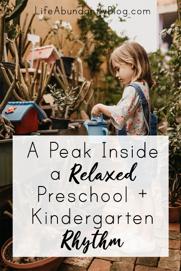 Have you ever wanted a detailed peak inside of a relaxed Kindergarten and Preschool Day? This detailed schedule will help answer many of your questions!