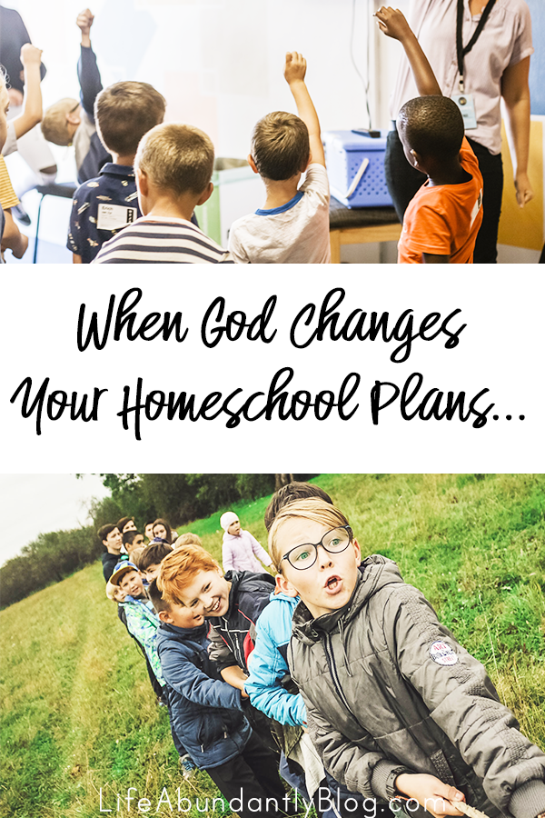 "Sometimes we have everything all planned out for our school year and we are certain ""this"" will happen and ""that"" won't. But sometimes God intervenes and has an ever better plan than you could have imagined. If you're walking through unplanned changes or opportunities in your homeschool, this will be a great encouragement!"