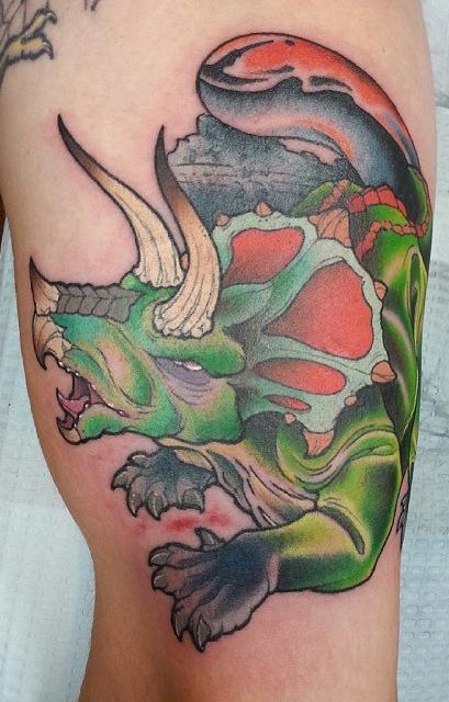 dinosaur-detail-color-Tattoo -LA-LosAngeles-besttattoo-besttattooartist-besttattooartists-top-pictures-images-photo-tat-ink-inked-seanadams-guestartist-rabblerousertattoo