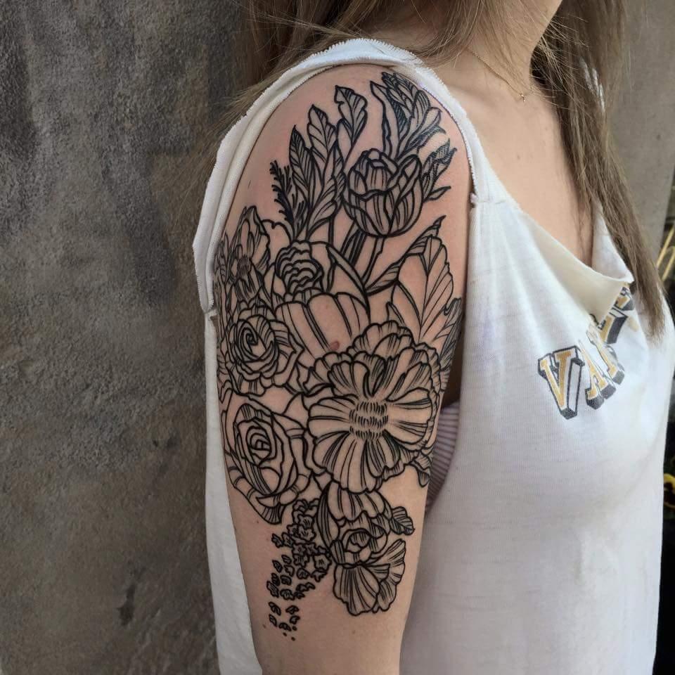 floral-halfsleeve-Tattoo-blackandgrey-linework-detail-LA-LosAngeles-besttattoo-besttattooartist-besttattooartists-top-pictures-images-photo-tat-ink-inked-tinedefiore-guestartist-rabblerousertattoo