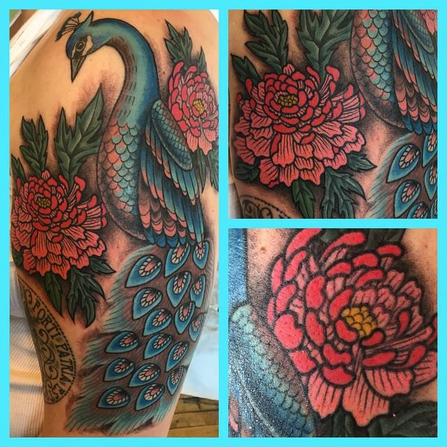 peacock-flower-color-detail-detailed-tattoo-LA-LosAngeles-besttattoo-besttattooartist-besttattooartists-top-pictures-images-photo-tat-ink-inked-jennifertrok-guestartist-rabblerousertattoo