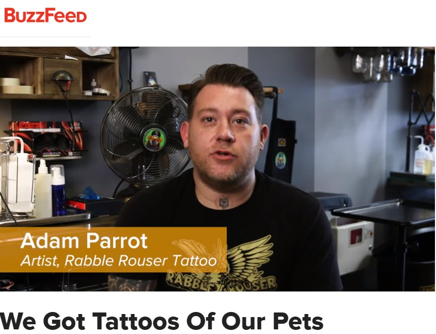 BUZZFEED VIDEO - Buzzfeed asked our artist Adam Parrot to make some tattoos of pets for some memorable clients...
