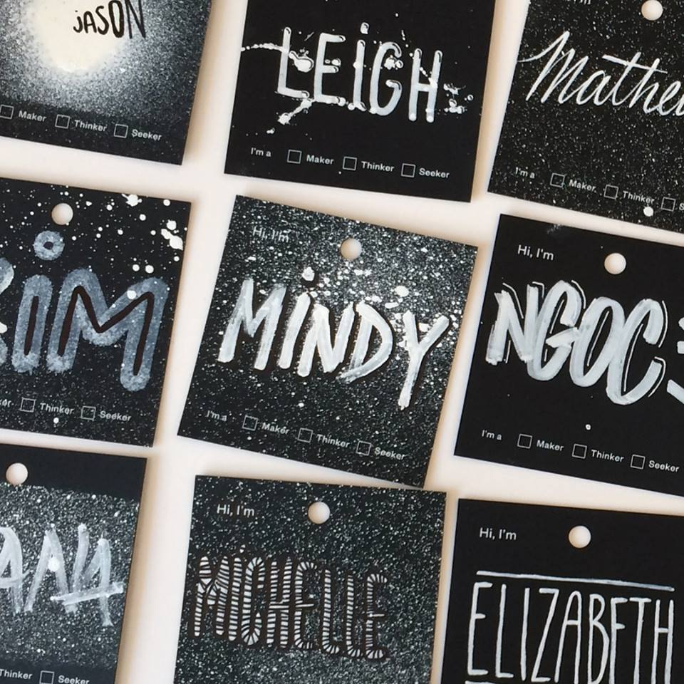 Our custom name badges, created by the amazing Jil at Elephant (Image:  Facebook )