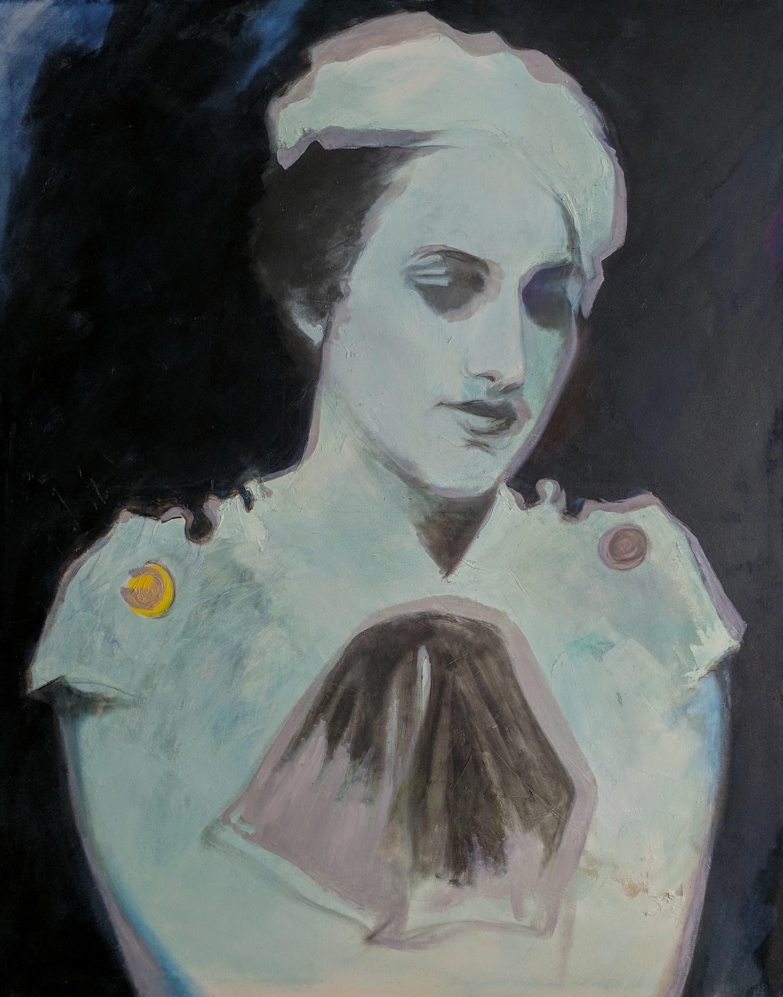 """""""Florence Pfifer V"""" (Unfinished), oil on canvas, 60""""x48"""", September 2017"""