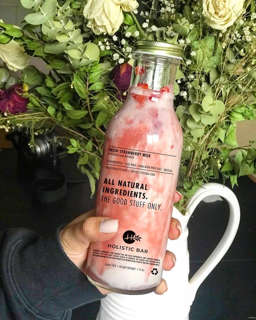 Holistic Bar - Fuel your body with the good stuff only. Drinks from Holistic Bar feature high quality, all natural ingredients such as their Activated Charcoal Coconut Water and Carbon Lemonade. Bonus: their Fresh Strawberry Milk is dairy free and vegan friendly!