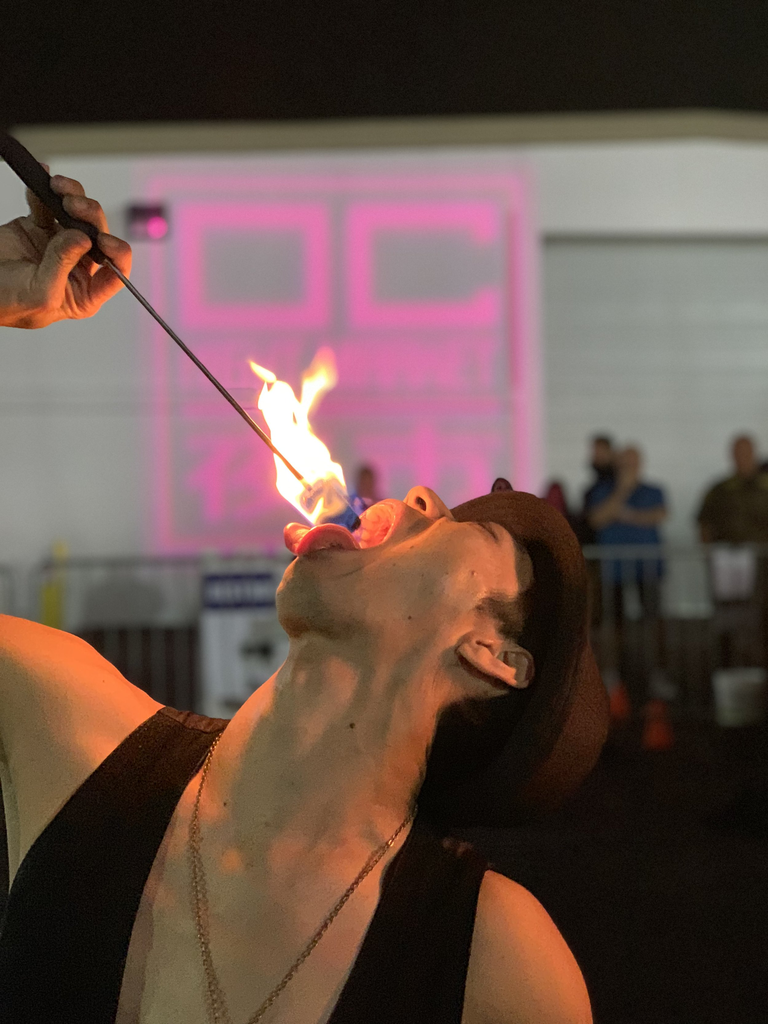 Swallowing fire at OC Night Market. Staff photo by  @annikayip .