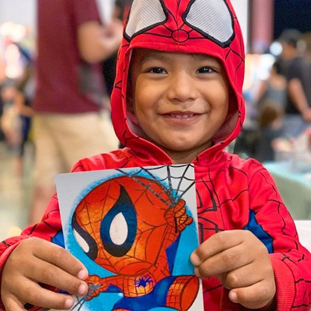 A mini Spider-Man and his portrait by @critterosity! Open until 11pm tonight for the last OC Night Market event of the year! — EVENT INFO: Hours are 4pm-11pm Sun on August 25th at OC Fair & Event Center in Costa Mesa. Admission is $5 cash at the door or online on our website. Parking is $9. Most vendors accept cash only. We recommend arriving early to beat the crowds and for new security measures such as bag check and metal detectors at the entrances. See the Event Directory on our website for full list of vendors.