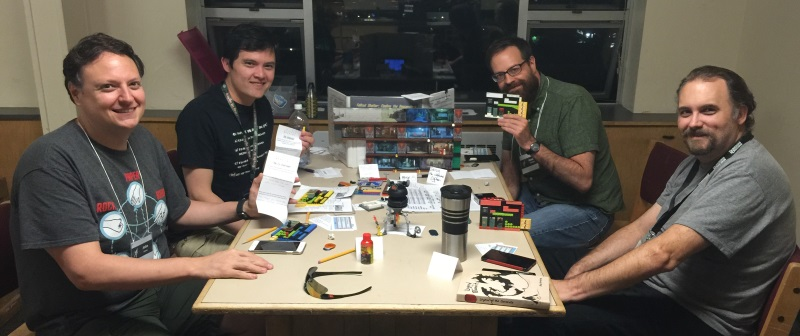 Fallout Shelter RPG: Round 1, Friday... from left to right: John, < damn, I forget >,Dan and Jerry