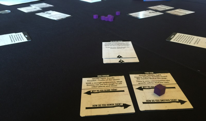 Interesting ways to create bonds... character cards in the foreground, and events just above.