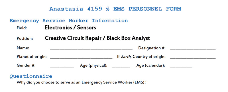 The top of an EMS personnel form.