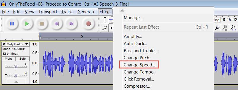 Screenshot of Audacity, showing the Effects menu.