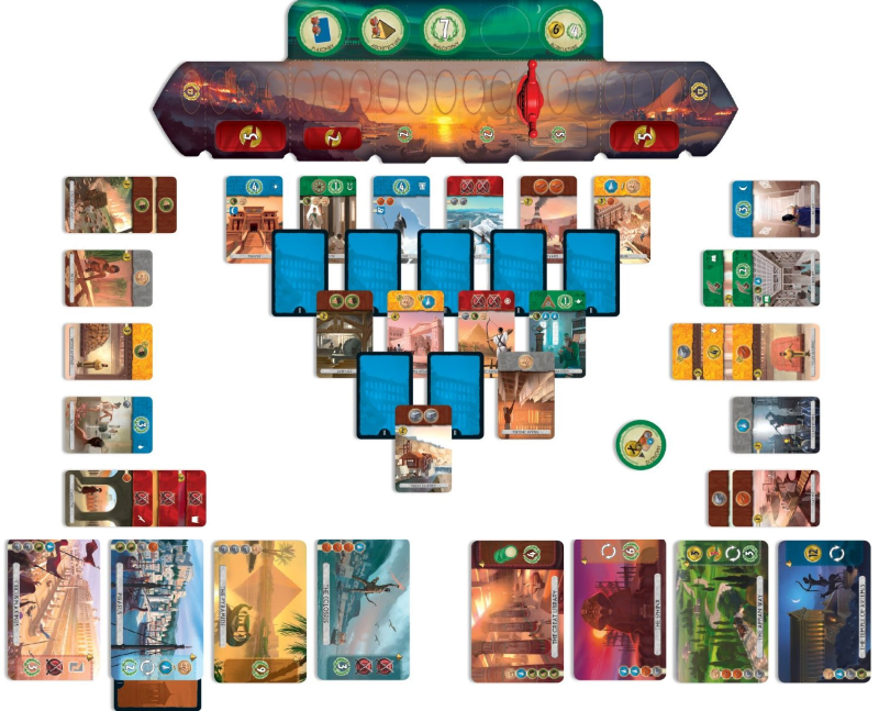 An example of 7 Wonders Duel (from the net... this wasn't our game specifically). You can see the types of cards: Brown resources, Green science, Yellow economic, Blue improvements, Red military, etc.