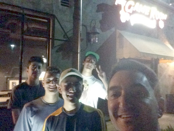 A somewhat crappy photo at night in front of the cafe with my Dungeon World players.