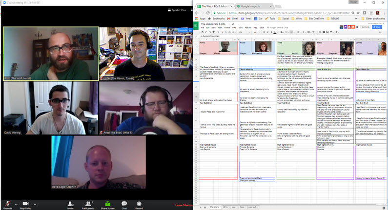 A screenshot mid-game: players on left, characters in the magic spreadsheet on the right.