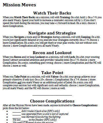 Excerpt of Mission Moves from The Watch's Kickstarter sample