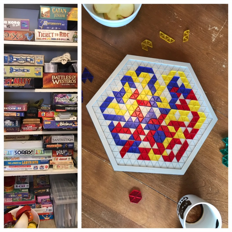 Blokus Trigon, one of the Blokus variants. It's actually quite a fun little version of the game. On the left you can see the amazingly delicious board game library they have amassed, mostly from thrift stores.
