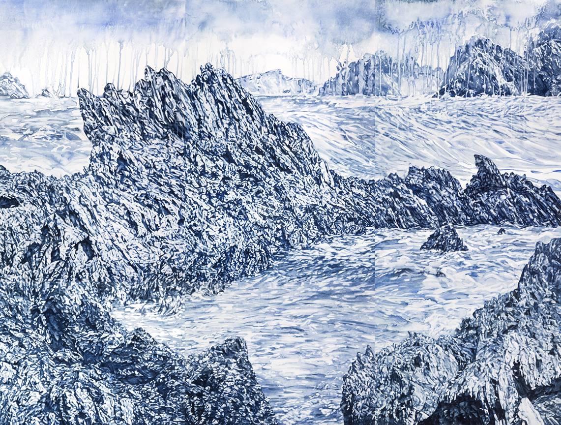 Annika Romeyn, Guerilla Bay watercolour monotype, 2019 168cm x 228cm
