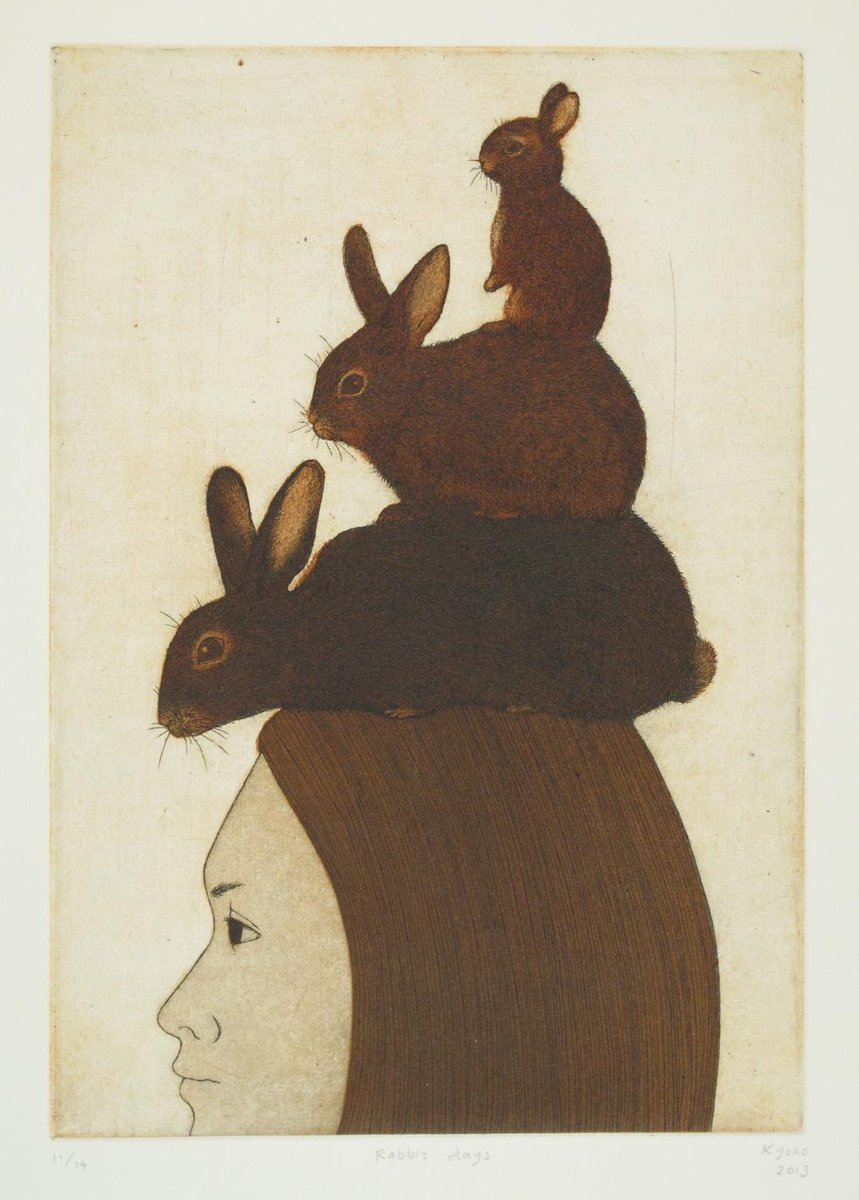 Kyoko Imazu: Journey of Rabbit Days, etching 2013. Kyoko is represented by Australian Galleries