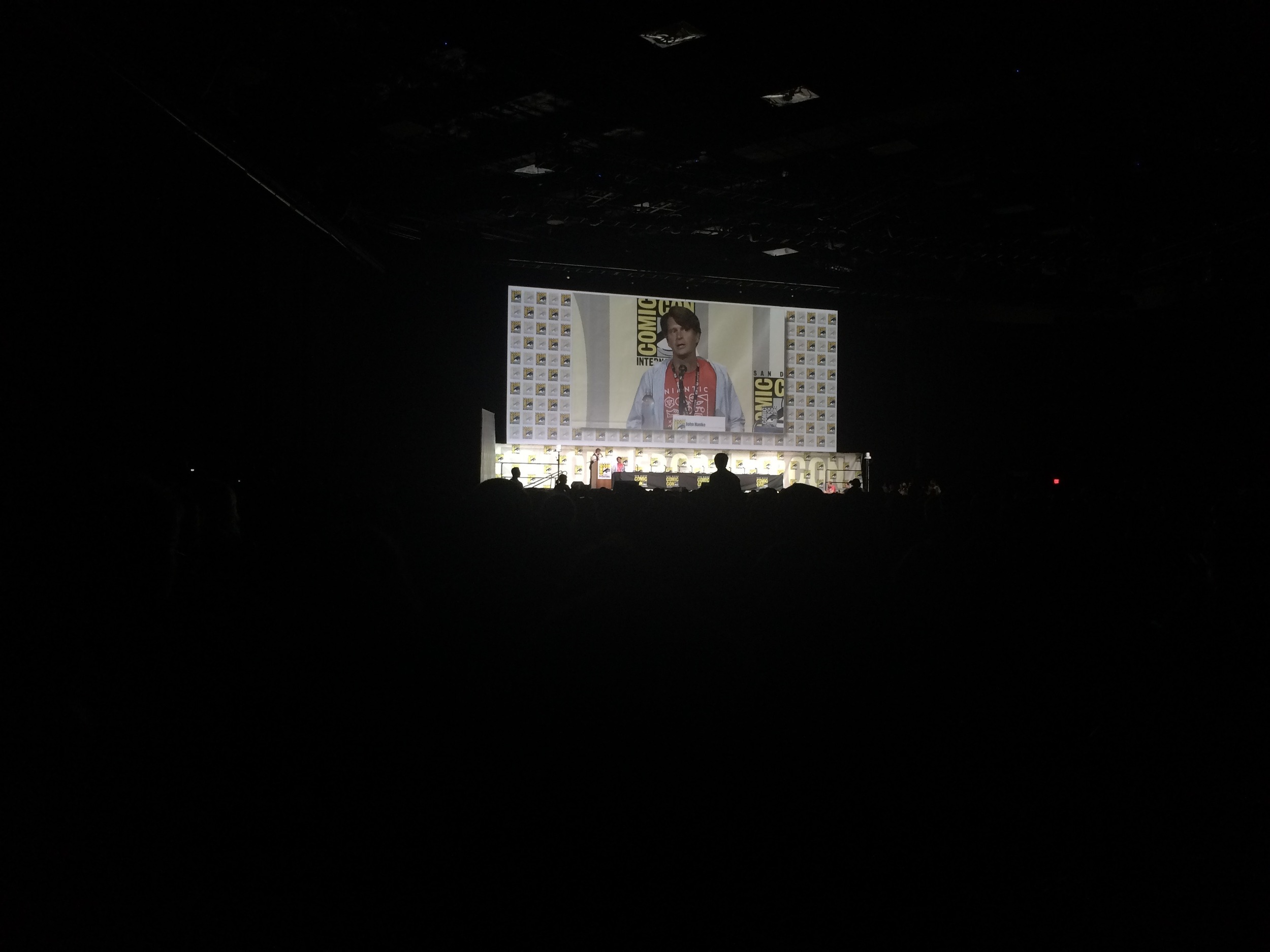 On Sunday, I waited in the long (and infamous) Hall H line to attend the panel on PokemonGo. It was hosted by Chris Hardwick and he interview the president of Niantic, John Hanke. All the information from that panel, if you are interested, is repeated in countless media outlets. I had a great time, planted somewhere in the middle of Hall H. I learned that I am on the same PokemonGo team as the president. That's all that really matters. (Go Team Instinct!)