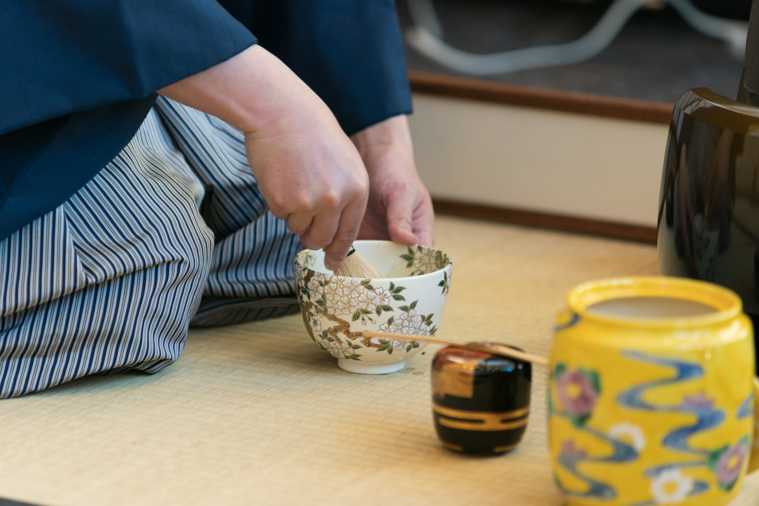 A cherry blossom tea bowl for whisking matcha. Photo by  Ling Luo .
