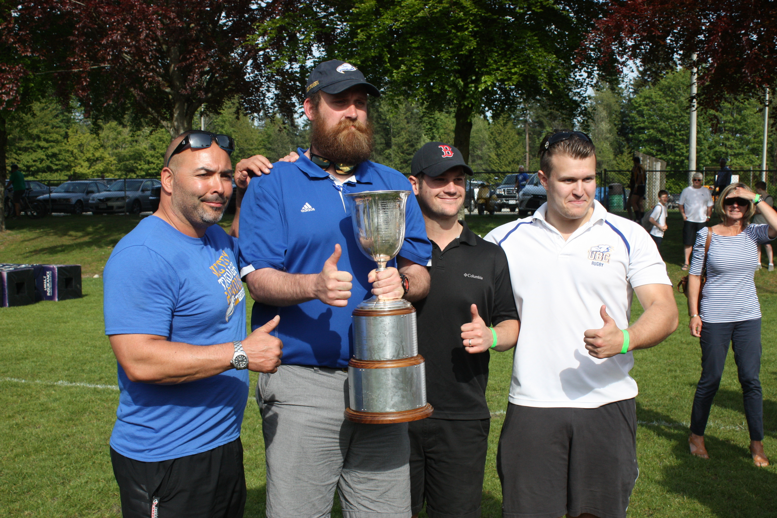 CUP WINNING ubc cOACHES FROM LEFT TO RIGHT: raMESES LANGSTON, CURRY HITCHBORN, LUKE GRAY AND FORD CHAMBERLAIN