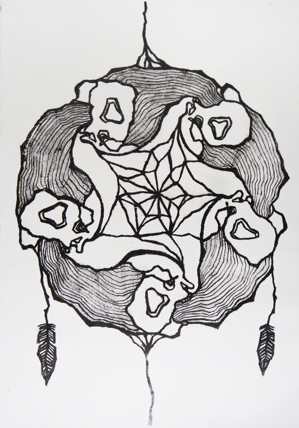 Lithography: Dream catcher made out of nightmares