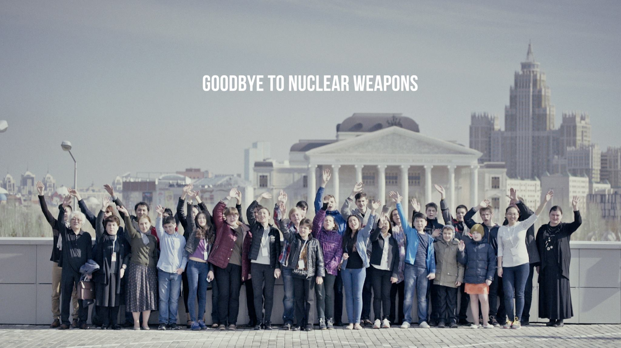 Finalists in the Third International Festival of Classical Music and Competition for Young Pianists wave goodbye to nuclear weapons from Astana (Kazakhstan), where the festival is being held.