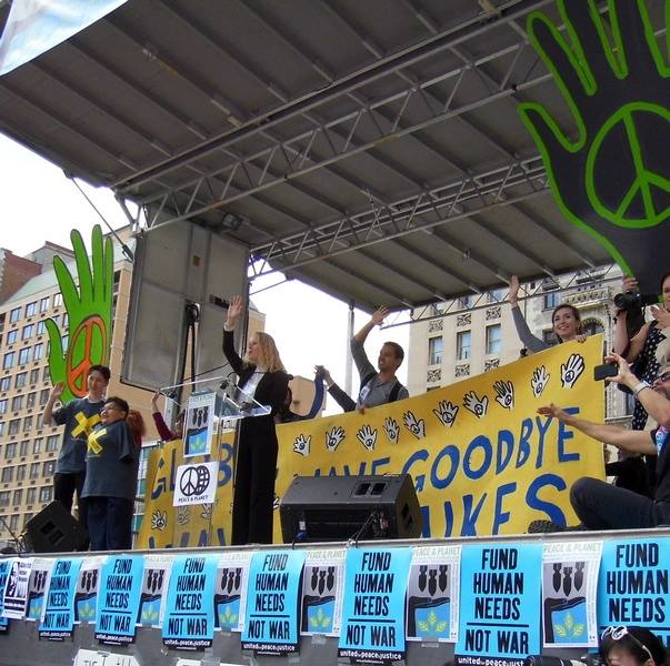 Global Wave 2015 - wave goodbye to nuclear weapons launched at Peace and Planet Rally in New York