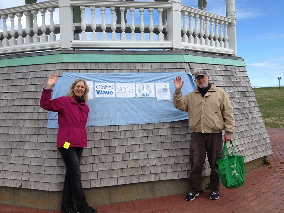 "Paula Gutlove and Gordon Thompson, of ""Massachusetts Peace Action"" wave goodbye to Nukes on the island of Martha's Vineyard, Massachusetts."