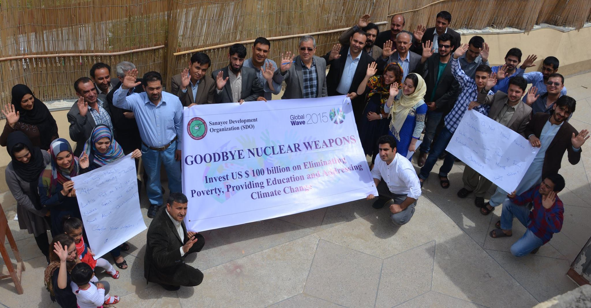 Today Afghan Civil Society Members and Activists Waved Goodbye to Nuclear Weapons in Order to Support    ‪#‎  globalwave2015‬    International Campaign.  Global Wave 2015