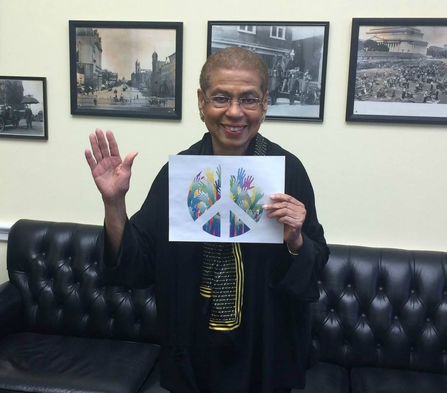 US Congresswoman Eleanor Holmes Norton waves goodbye to nuclear weapons from Washington DC