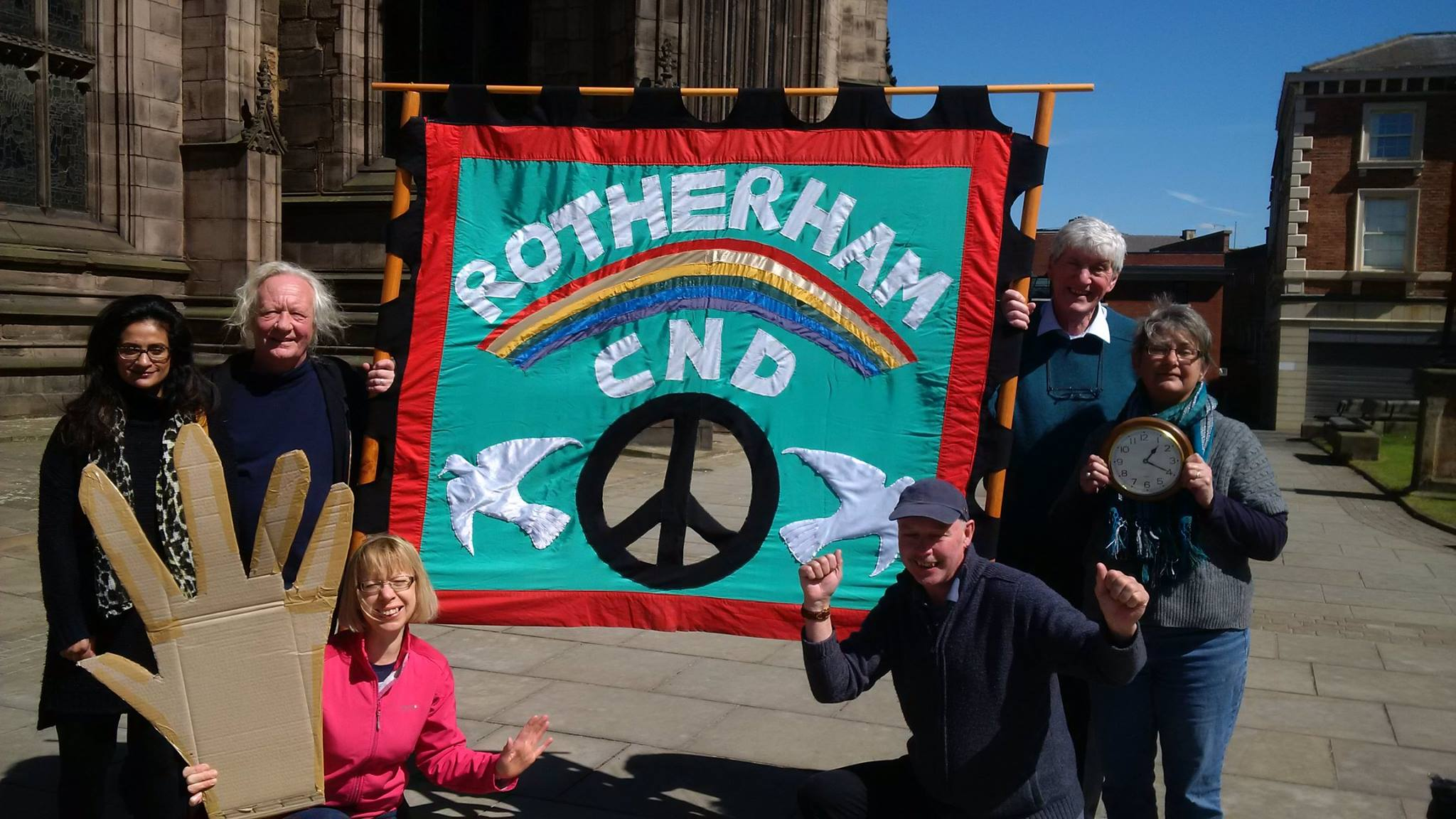 Rotherham CND  waving goodbye to Nukes today at 1.20pm UK time.