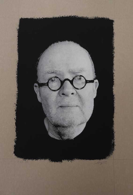 Wolf Erlbruch, 2017, Siebdruck (Still aus Video Porträt 2017), 35 cm x 50 cm, Farbe auf Pappe