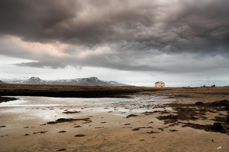 Krossavík white sand beach in west Iceland