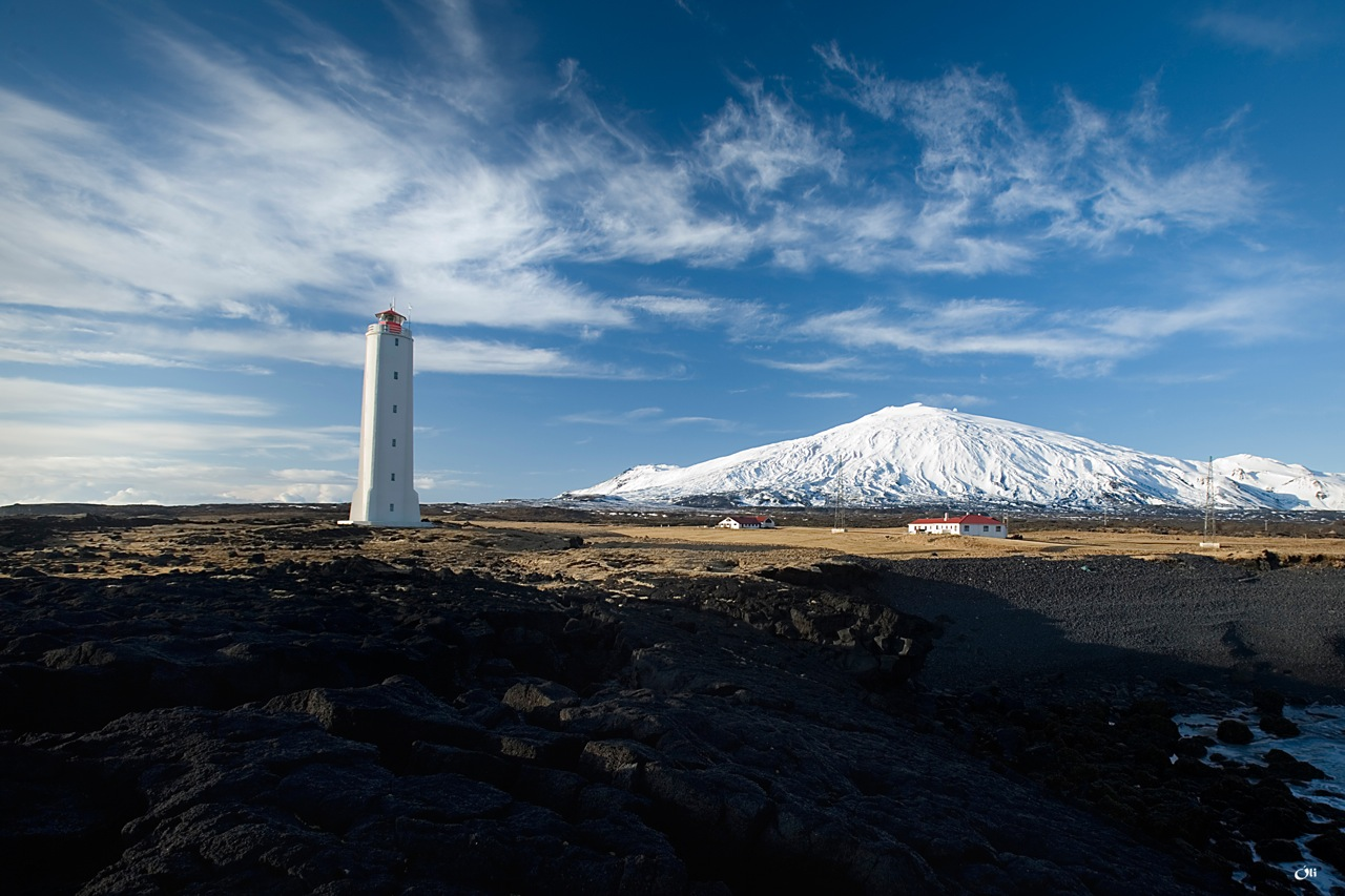 Lighthouse and glacier in Snæfellsjökull national park