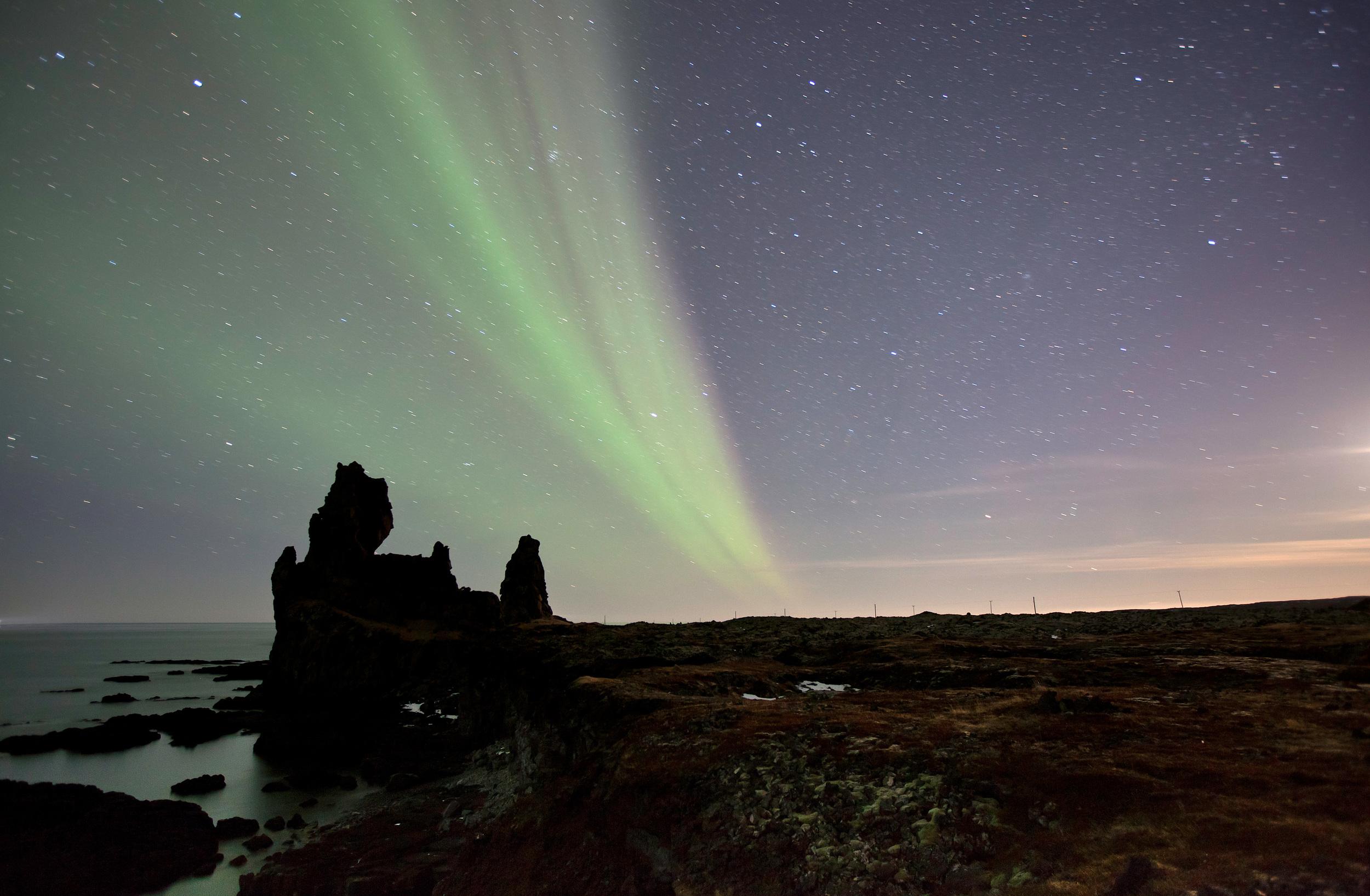 Northern lights in Snæfellsjökull national park, west iceland