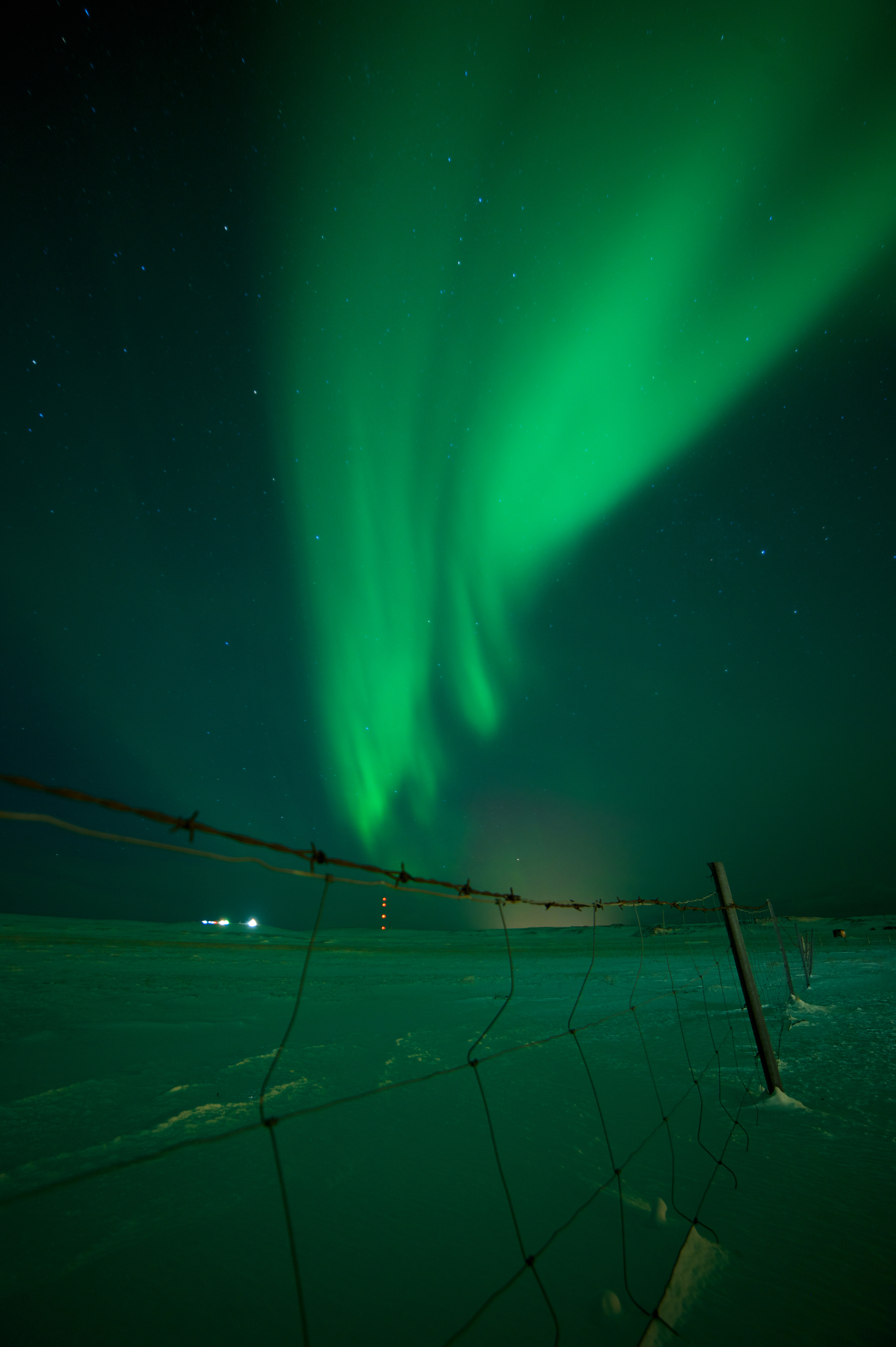 Northern lights at The Freezer Hostel in west Iceland