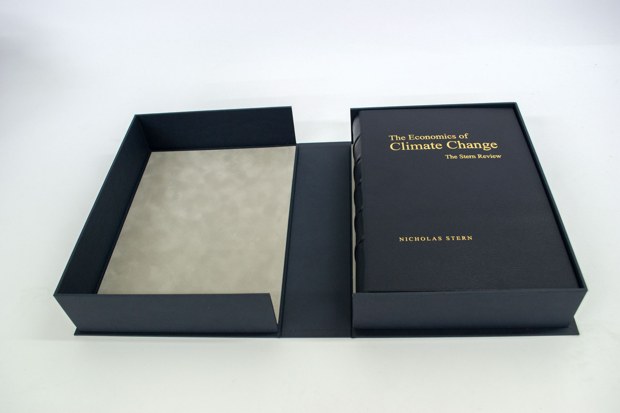 Leather bound book in presentation box