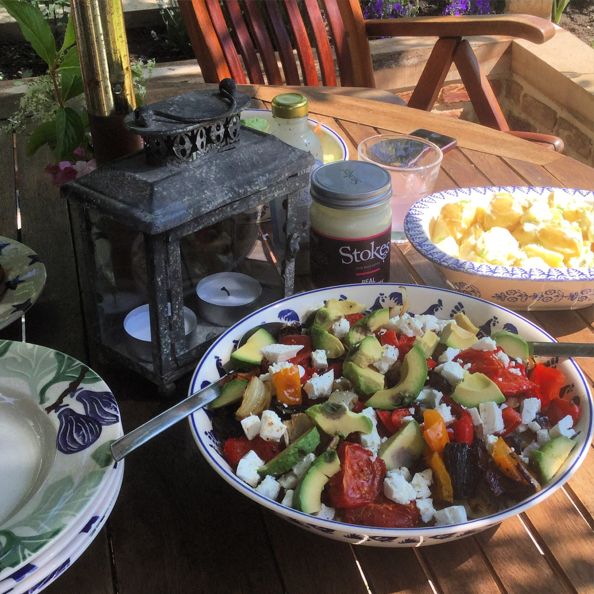 Lunchtime on the patio at Camomile Cottage B & B and Chobbs Barn Self Catering Suffolk.